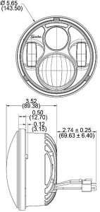 Speaker 8630 LED Headlight line drawing