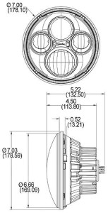 Speaker 8700 HB LED Headlight dimensions
