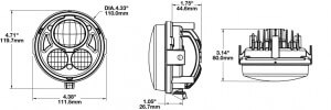 Speaker 8415 Round 4.5 LED Headlights line drawing