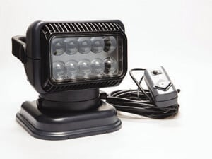 Portable charcoal Golight RadioRay with wired handheld remote control