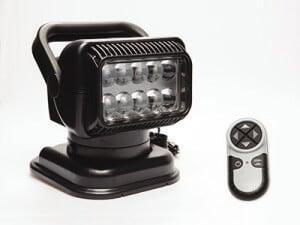 Portable black Golight RadioRay with wireless handheld remote control