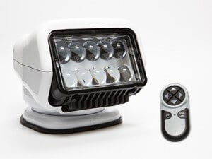 White Golight Stryker with wireless handheld remote control