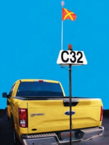 APS 3-sided backlit VID with strobe and whip flag on a Ute