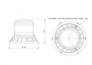 VIGNAL Fresnel LED Beacon D14746 line drawing