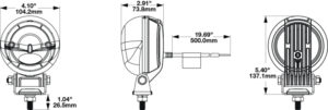 JWS Model 777 LED ARC Warning Light - Line drawing